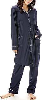 NISHIKI[ニシキ] マタニティ パジャマ 授乳口付き 長袖 パウダーストレッチ 伸縮性 シワになりにくい 前開き ロング丈 ウエスト調整パンツ 授乳服 ルームウェア 部屋着