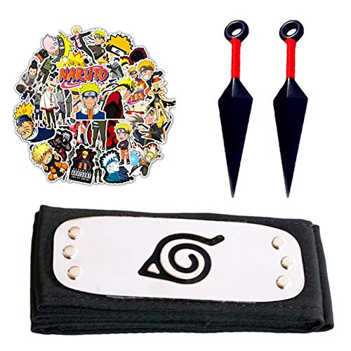 Leaf Village Headband With 2 Pack Kunai & 50Pcs Non-Repeat Sticker For Ninja Fans Cosplay Halloween Costume,Christmas Gift Set Metal