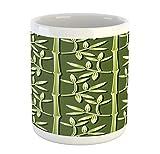N\A Taza Verde, Planta ecológica orgánica de bambú con patrón de Hojas, Inspirada en la Naturaleza de la Jungla, Taza de café de cerámica para Bebidas de té de Agua, 11 oz, Verde Oliva, Verde Manzana