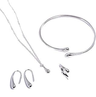 Holibanna Conjunto de joias de prata esterlina 925 de 4 peças, pingente, pingente, brincos, brincos, brincos, festa de ani...