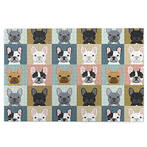 KIMDFACE Puzzle Jigsaw 1000 pezzi per gli adulti,Tema animale del bulldog francese,gioco familiare,festa aziendale,regalo per amore e amico