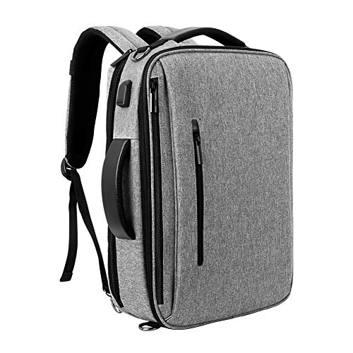 SLOTRA Zaino Porta PC, 15.6 Pollici Borsa Per Laptop con Caricatore USB, Borsa a Tracolla 3-in-1 Multifunzionele Borsa Messenger da Resistente all'Acqua per Ufficio/Lavoro/Università, Grigio