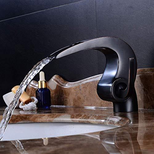 LIPENLI Negro Lavabo Baño completo cobre curvado grifo de agua caliente y frío acondicionado retro Home Hotel Tipo de llave del grifo de mezcla Hermosa práctica