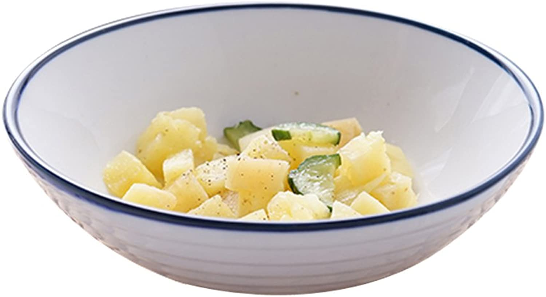 Sangeshitou Nordique créative Peinte à la Main Bleu Ligne Bol en céramique Bol Petit-déjeuner Bol Salade Couverts Couverts Bol à Dessert Bol de Soupe Bol de RaHommes (Couleur   18  6CM)