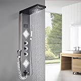 Saeuwtowy - Panel de columna de ducha de hidromasaje LED con indicador de temperatura del agua, dos grandes boquillas de masaje, seis modos de ducha con pistolas pulverizadoras, cepilladas en negro