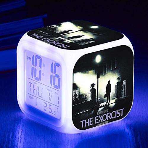 fdgdfgd Reloj Digital clásico de la película de Hollywood Reloj cambiante de Color Cuadrado de Dibujos Animados en 3D LED con termómetro Reloj Despertador con Fecha