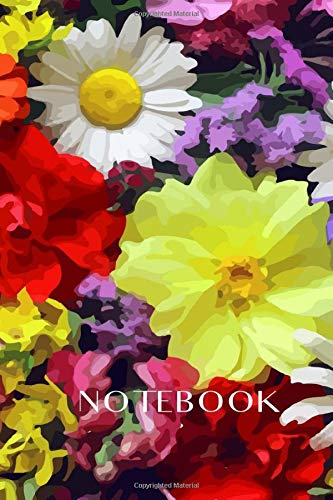Notebook flowers on the cover, measuring 6 x 9 inches by 120 pages in a line.: For flower lovers and gardeners.