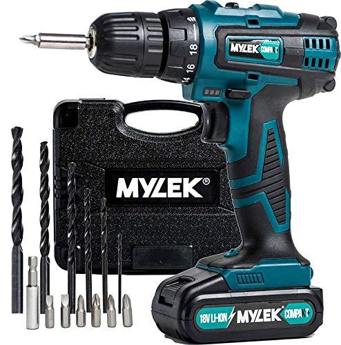 MYLEK 18V Cordless Drill Driver, 1300 mAh Li-Ion battery...