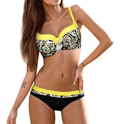 Bademode Schwimmanzug, Gedruckt Sexy TräGerlosen Bikini äRmellose Kurze Overall Damen Badebekleidung Badebekleidung für Damen Push up