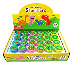 5. TINYMILLS 24 Pcs Dinosaur Stampers for Kids