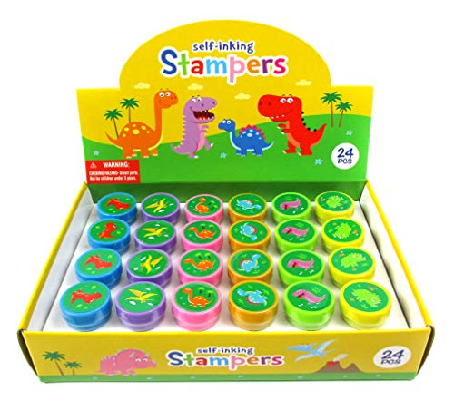 Tiny Mills 24 Pcs Dinosaur Stampers for Kids Assorted Stamps for Kids Dinosaur Party Favors and Supplies Goody Bag Pinata Fillers, Classroom Rewards