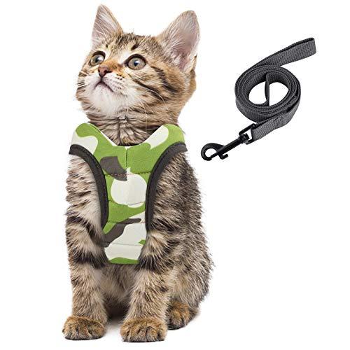 Simpeak Katzengeschirr, Katzengeschirr mit Leine Ausbruchsicher, Geschirr für Katzen Welpengeschirr Weich, Groß, Tarngrün