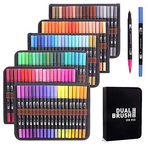 Rotuladores Lettering 120 Colores Rotulador de punta doble para colorear libros, caligrafía, suministros de arte