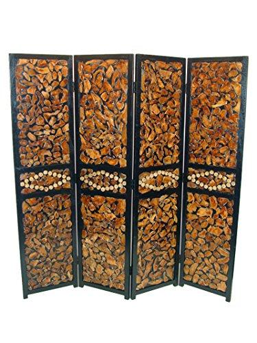 Benzara ETD-EN111127 Attractive 4 Panel Room Divider, Multicolor