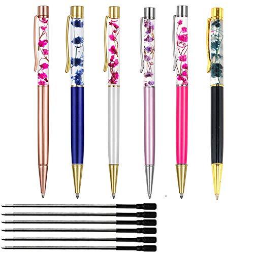 Kugelschreiber , 6PCS Metallkugelschreiber Bürobedarf , Dynamische flüssige Blumenstifte für Schreibtischzubehör (Schwarze Nachfüllung)