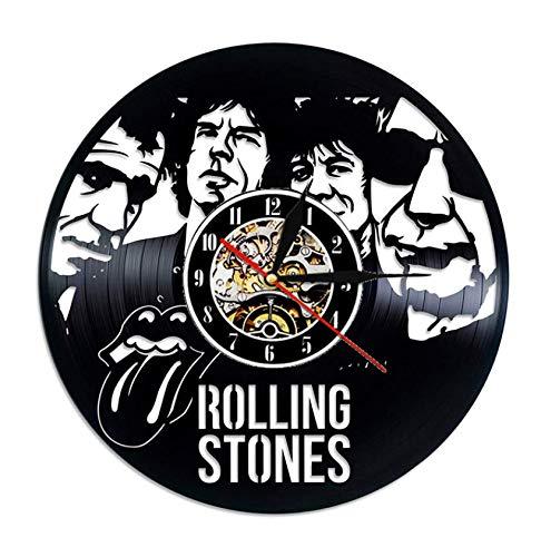 "XZXMINGY Disco de Vinilo Reloj de Pared Diseño Moderno Tema Musical The Rolling Stone Band Relojes Colgantes Reloj de Pared Vintage Decoración para el hogar Silencioso 1 12""/30cm"