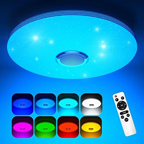 Koicaxy LED Deckenleuchte Dimmbar mit Bluetooth Lautsprecher, Led Deckenlampe Farbwechsel RGB mit Fernbedienung und APP-Steuerung 3000-6000K 38cm Rund für Wohnzimmer, Schlafzimmer, Kinderzimmer