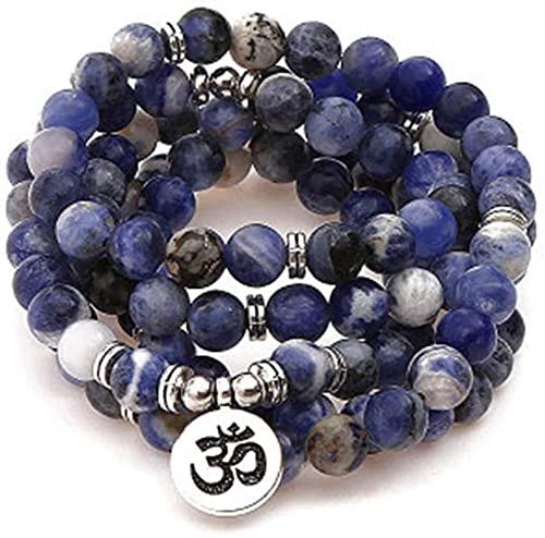 Pulsera Feng Shui Bead Pulsera budista de yoga 108 perlas de oración Pulseras de piedra azul natural - Lotus Ojo Buda Colgante Pulsera Collar Decoraciones Yoga Budista Pulsera Pulsera de abalo