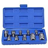"""Akozon Set di chiavi a bussola con punta tripla quadrata a 12 punte 10 pezzi M4-M18 1/4""""3/8"""" 1/2""""Kit di strumenti per la riparazione dell'unità"""
