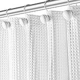 Duschvorhang, Waffelmuster, weißer Stoff, inkl. PEVA-Innenfutter, wasserdicht, dekorativer Vorhang für Badezimmer, schimmelresistent & rostfrei, Metallösen, 183 x 183 cm (290 g/m²)