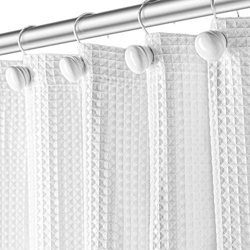 """Waffle Fabric White Shower Curtain with Liner Set - Includes Free Clear Liner, Decorative Shower Curtain for Bathroom Set - Rustproof Metal Grommets Waterproof Hotel Quality 72"""" x 72"""" Heavy 290 GSM"""