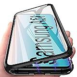 Handyhülle für Samsung Galaxy A51 Hülle Magnetic Adsorption, E-Lush Schutzhülle 360 Grad Komplett Schutz Hülle 2 in 1 Metall Bumper mit Gehärtetes Glas Ultra Dünn Transparent Hülle Cover, Schwarz