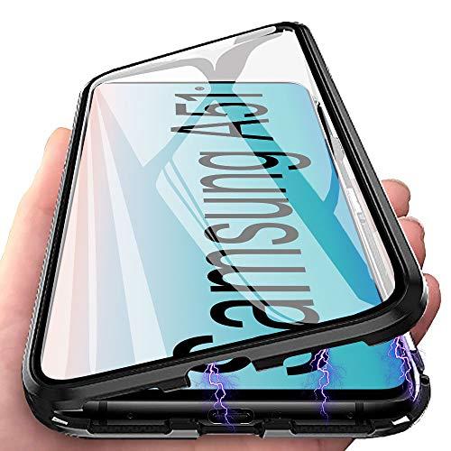 Handyhülle für Samsung Galaxy A51 Hülle Magnetic Adsorption, E-Lush Schutzhülle 360 Grad Komplett Schutz Hülle 2 in 1 Metall Bumper mit Gehärtetes Glas Ultra Dünn Transparent Case Cover, Schwarz