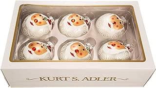 Kurt Adler 80MM Glass Santa FACE Deco Balls 6P