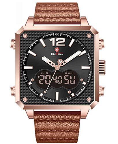MLHXHX Reloj deportivo multifuncional impermeable para hombre, esfera cuadrada, oro rosa