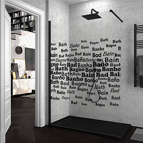 Mampara de ducha FIJA VAROBATH Negro - Vidrio 8MM Serigrafiado Vinilo LONDRA - Tratamiento antical INCLUIDO. 110x200cm.