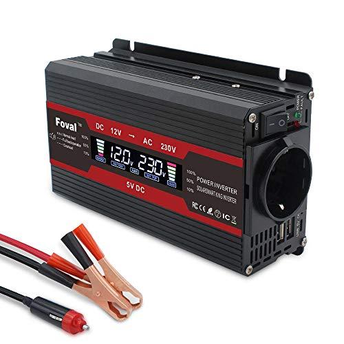 Inversor de energía 1500W Pantalla LCD de Onda sinusoidal modificada DC 12V...