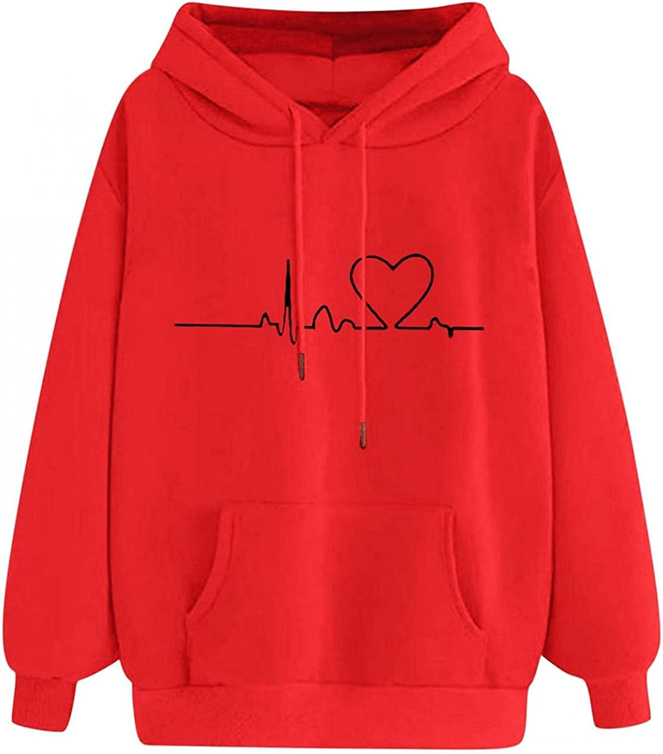 Women's Casual Loose Print Hoodie Sweatshirt Pullover Blouses Fashion Love Pattern Long Sleeve Soft Comfortable Tops