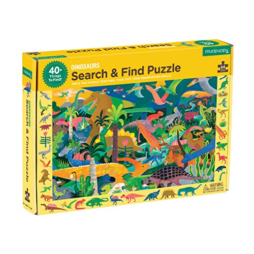 """Mudpuppy Dinosaur Search & Find Jigsaw Puzzle, 64 Pieces, Ages 4-7, 23"""" x 15.5"""", Multicolor Dinosaur Illustrations, Model Number: 9780735355804"""