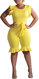 OLUOLIN Womens Summer Short Jumpsuits Rompers - Ruffle Sleeveless One Piece Playsuit with Belt