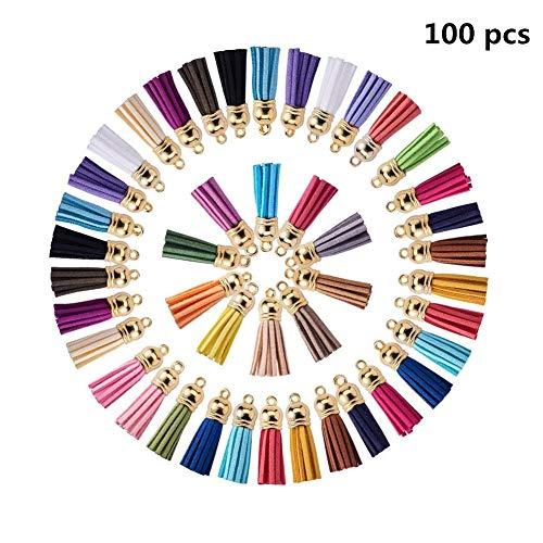 Jrancc kwast knutselen sleutelhangers 100 stuks 20 kleurrijke minikwasten voor handwerk handtas sieraden maken DIY hangende decoratie