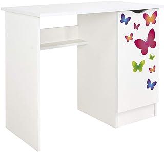 Leomark Vit skrivbord för barn – Roma – trevligt skrivbord för barn med hylla, möbler för barnrum, höjd: 77 cm (fjäril)