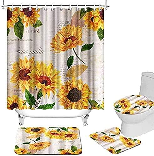 4 Stück Sonnenblume Duschvorhang Sets Mit Rutschfestem Teppich Toilettendeckel Und Badematte Gelb Blumen Auf Postkarten Stil Duschvorhang Stoff Für Badezimmer Dec180X180Cm (71X71Zoll)