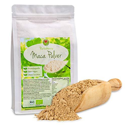 Naturherz BIO Maca Pulver [ nicht gelatiniert ] - 100{ab9e4eeb3de75dff835d6ac71c4d8b2be4035332e72e632047f57c0ac394b580} Macawurzel aus Peru - mit natürlichem Vitamin C - garantiert ohne Zusätze - zertifiziert Biologisch - vegan - 1000 g
