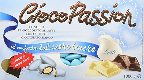Crispo Confetti Cioco Passion Cioccolato al Latte con Cuore di Cioccolato Bianco - Colore Celeste - 1kg