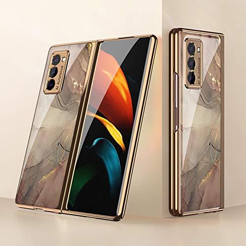 BaiFu Coque pour Samsung Galaxy Z Fold2 5G Etui, Mince PC + 9H Verre Trempé Housse Étui de Protection Mince et Anti, Choc Cover pour Samsung Galaxy Z Fold2 5G, Champagne