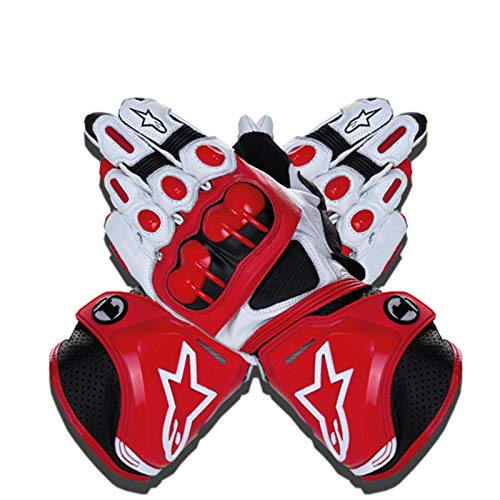 Guantes de Moto,Men Outdoor Motorbike Waterproof Gloves Motocicleta Full Finger Touch Screen Racing Motocross Guantes,para Bicicleta, Escalada,Motocross y Otros Deportes al Aire Libre (Rojo, L)