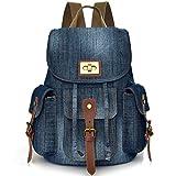 Denim School Backpack for Teen Girls Women Cute Bookbag Rucksack Pupil Middle High College School Student Slim Small Jeans BagDaypack Satchel for Textbook Binder - Xuanber
