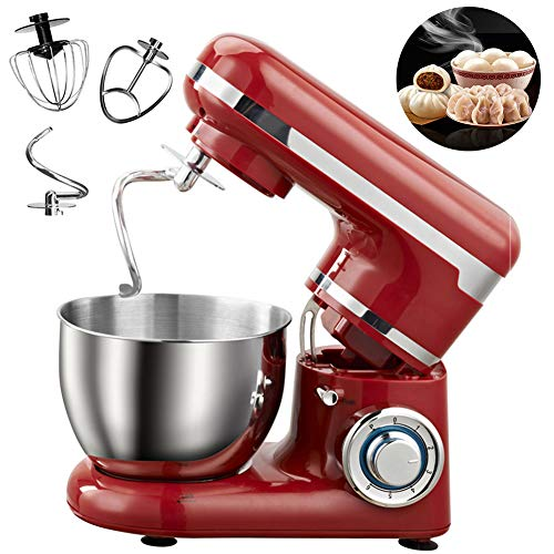 Food Stand Mixer, 1200W 6-Speed 4L elektrische mixer met klopper, deeghaak, garde en 4L kom multifunctionele keukenmachine