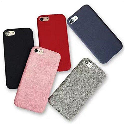 WLWLEO Simple Air Flannel telefoonbescherming Shell PU Hot Pressing paar mobiele telefoons voor iPhone 7 beschermhoes, Iphone6 plus, Roze