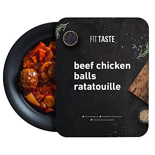FITTASTE Beef Chicken Balls mit Ratatouille I hochwertiges Fertiggericht für Fitness- und Figurbewusste I ideal als schnell zubereitete Mahlzeit / Fertig-Essen / Gericht im Home-Office