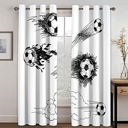 Daesar Curtains for Bedroom 2 Panels, Drapes Curtains for Living Room Sketch Football Drapes Blackout Curtains Black White Polyester Curtain 54x84 inch
