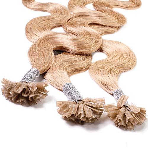 Hair2Heart 25 x 0.5g Extensiones de queratina - 40cm, colore #18 Castaños Rubio, corrugado