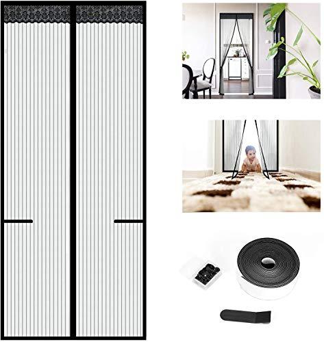 TOOLBOX Fliegengitter Balkontür 90x210 Magnet Insektenschutz Moskitonetz Tür Fliegenschutzvorhang Automatisch Verschließen Magnet für Wohnzimmer Terrassentür Schwarz