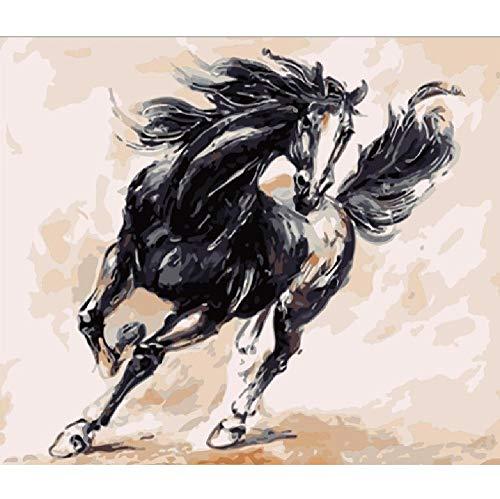 Malen Nach Zahlen DIY Schnell Laufendes Schwarzes Pferd Tier Leinwand Hochzeitsdekoration Kunst Bild Geschenk 40 * 50CM Kein Bilderrahmen