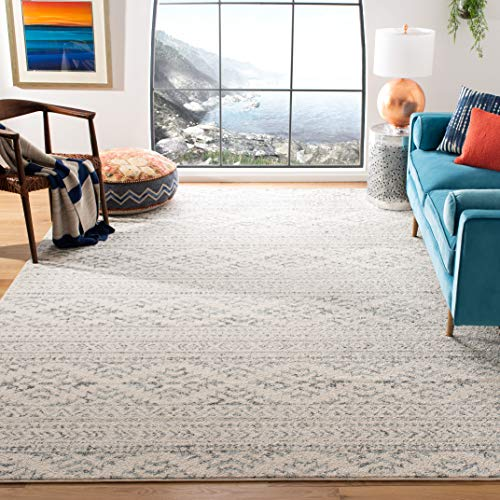 Safavieh Tulum Collection TUL272A Moroccan Boho Tribal Non-Shedding Stain Resistant Living Room Bedroom Area Rug, 9' x 12', Ivory / Grey